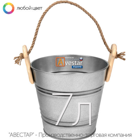 Ведро декоративное оцинкованное - 7 литров