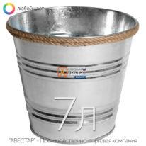 Кашпо декоративное металлическое — 7 литров (джут)